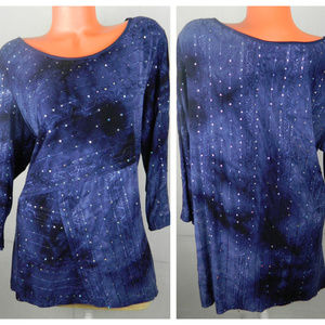 DRESSBARN Embellished SHIRT TUNIC Sequin BLUE 2X